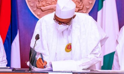 President Buhari signs the 2021 Appropriation Bill into Law at the State House this morning
